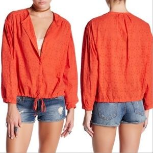 Free People Persimmon All Over Eyelet Top Sz XS